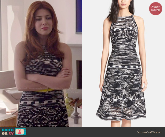 M Missoni Crochet Zig Zag A-Line Dress worn by Elena Satine on Revenge