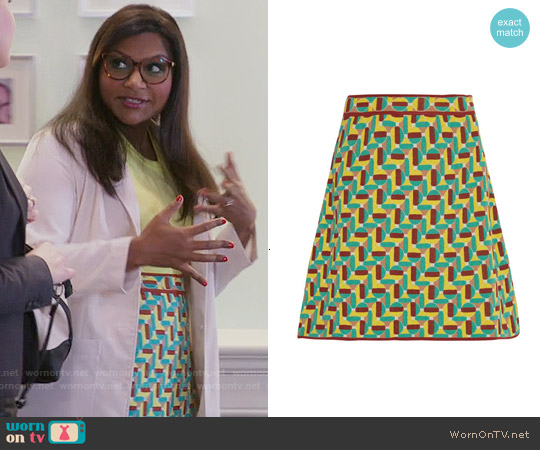 M Missoni Jacquard-knit cotton-blend mini skirt worn by Mindy Kaling on The Mindy Project