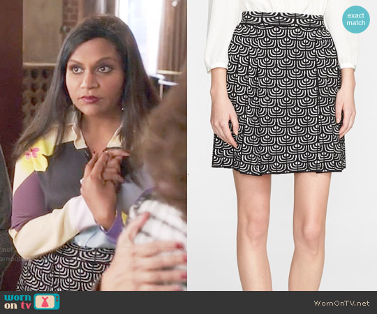 M Missoni Pleated Geometric Jacquard Skirt worn by Mindy Lahiri on The Mindy Project