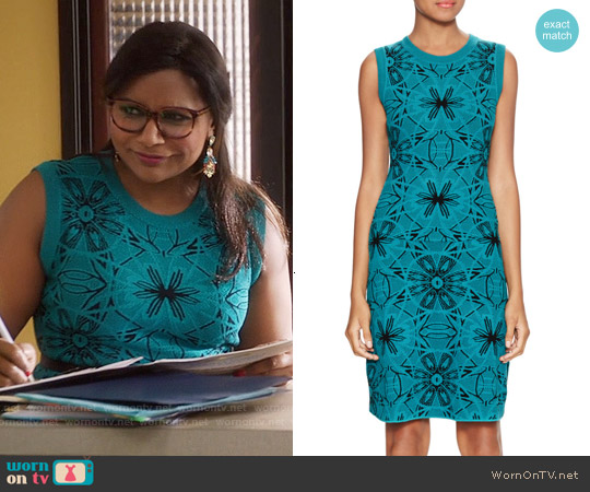 M Missoni Sleeveless Intarsia Dress worn by Mindy Kaling on The Mindy Project
