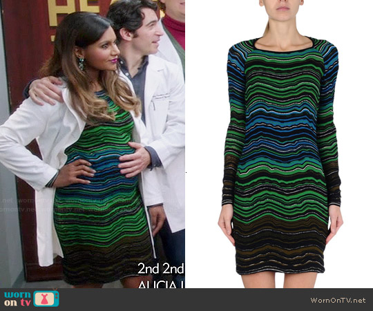 M Missoni wave print dress worn by Mindy Kaling on The Mindy Project