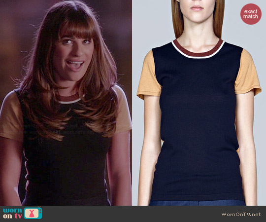 M. Patmos Colorblock Sweater Tee worn by Lea Michele on Glee