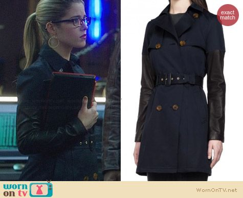 Mackage Navy Inessa Coat worn by Emily Bett Rickards on Arrow