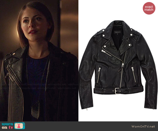 Mackage Rumer Leather Jacket worn by Willa Holland on Arrow