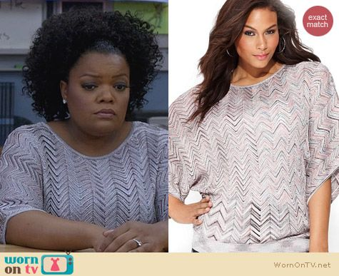 Macys INC International Concepts Zig Zag Blouse worn by Yvette Nicole Brown on Community