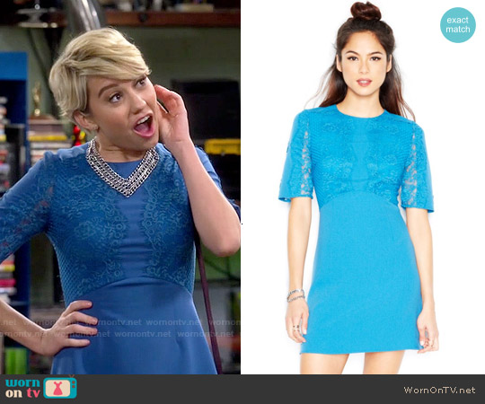 MADE Fashion Week Elbow-Sleeves Lace-Overlay Dress worn by Chelsea Kane on Baby Daddy