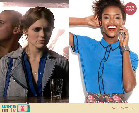 MADE Fashion Week Piped blouse worn by Holland Roden on Teen Wolf