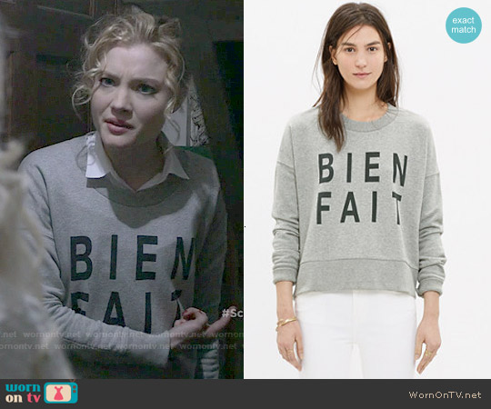 Madewell Bien Fait Side Zip Sweatshirt worn by Skyler Samuels on Scream Queens