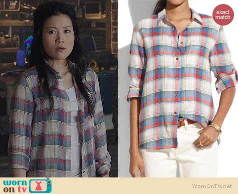 Madewell Boyshirt in Swingset Plaid worn by Jadyn Wong on Scorpion