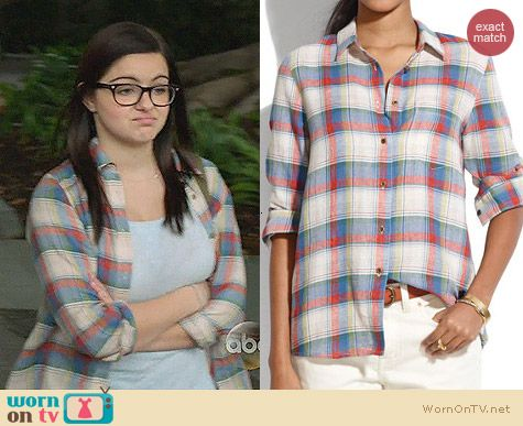 Madewell Boyshirt in Swingset Plaid worn by Ariel Winter on Modern Family