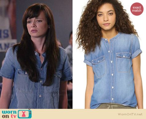 Madewell Short Sleeve Chambray Shirt worn by Ashley Rickards on Awkward