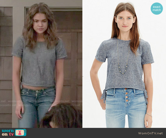 Madewell Chambray Side Tie Crop Tee worn by Maia Mitchell on The Fosters