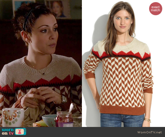 Madewell Cheveron Ski Sweater worn by Italia Ricci on Chasing Life
