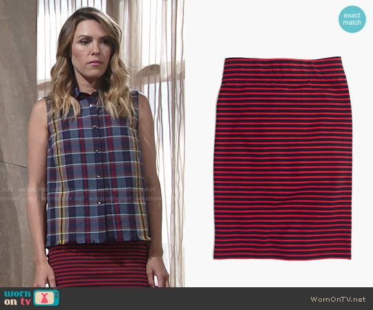 Madewell City Skirt in Sailor Stripe worn by Chloe Mitchell on The Young & the Restless