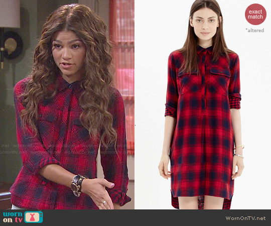 Madewell Daywalk Shirtdress in Albion Plaid worn by Zendaya on KC Undercover