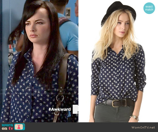 Madewell Elephant Eden Boy Shirt worn by Ashley Rickards on Awkward