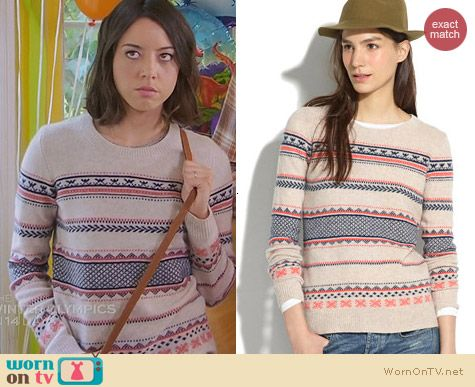 Madewell Fair Isle Stripe Sweater worn by Aubrey Plaza on Parks and Recreation