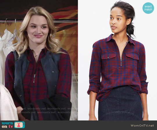 Madewell Flannel Zip Front Popover Shirt in McKinney Plaid worn by Hunter King on The Young & the Restless