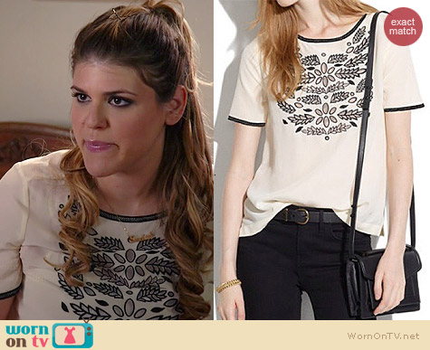 Madewell Silk Ivy Cutout Tee worn by Molly Tarlov on Awkward