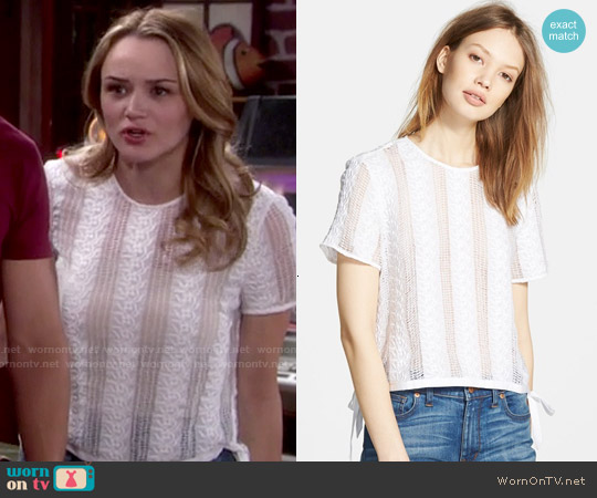 Madewell Lace Side Tie Crop Tee worn by Hunter King on The Young & the Restless