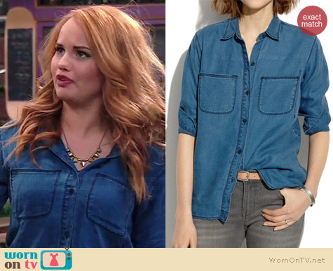 Madewell Indigo Linen Ex-Boyfriend Shirt worn by Debby Ryan on Jessie