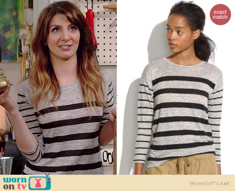 Madewell Linen Tee in Mixed Stripe worn by Nasim Pedrad on Mulaney