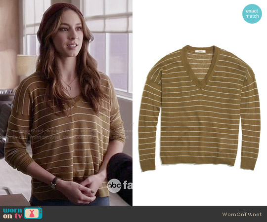 Madewell Longview V-neck Sweater in Spiced Olive Stripe worn by Troian Bellisario on PLL