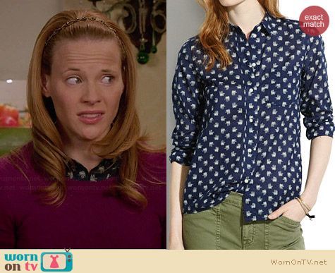 Madewell Elephant March Boyshirt in Transatlantic Blue worn by Katie Leclerc on Switched at Birth