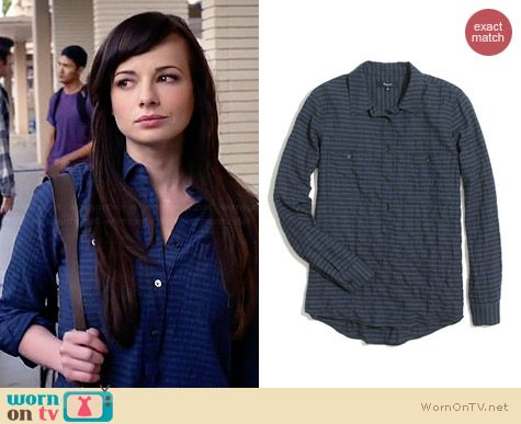 Madewell Market Popover in Crinkle Stripe in Blue Green worn by Ashley Rickards on Awkward