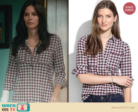Madewell Mini Check Market Popover worn by Courtney Cox on Cougar Town