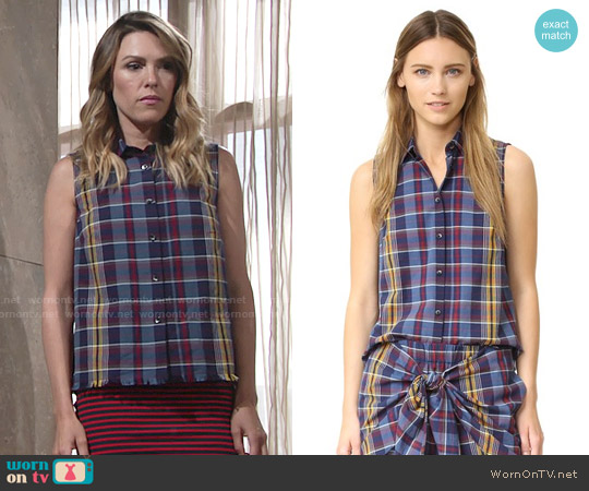 Madewell Moment Shirt in Madras Plaid worn by Elizabeth Hendrickson on The Young & the Restless