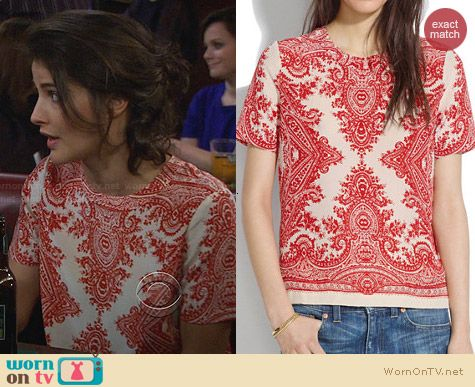 Madewell Paisley Loop Silk Tee worn by Cobie Smulders on HIMYM