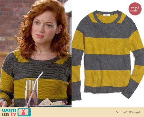 Madewell Perfect Textured Sweater in Stripe worn by Jane Levy on Suburgatory