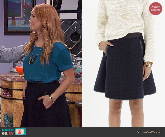 Madewell Quilted Skater Skirt worn by Debby Ryan on Jessie
