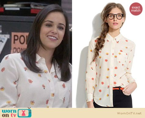 Madewell Silk boyshirt in Pansy worn by Amy Santiago on Brooklyn 99