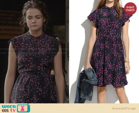 Madewell Silk Dress in Night Orchid worn by Maia Mitchell on The Fosters