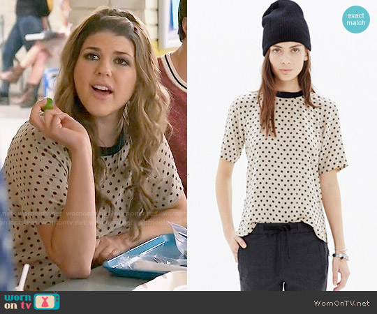 Madewell Silk Front Row Tee in Dot worn by Molly Tarlov on Awkward