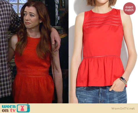 Madewell Silk Peplum Veranda Top worn by Alyson Hannigan on HIMYM