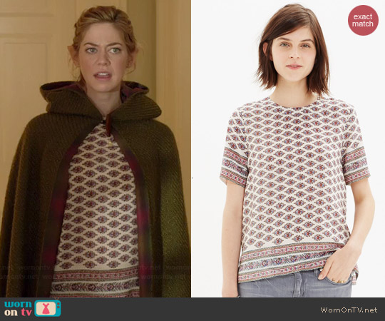 Madewell Silk Refined Tee in Diamond Floral worn by Analeigh Tipton on Manhattan Love Story