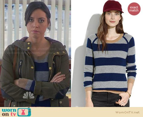 Madewell Simple Cashmere Waffle Sweater in Stripe worn by Aubrey Plaza on Parks & Rec