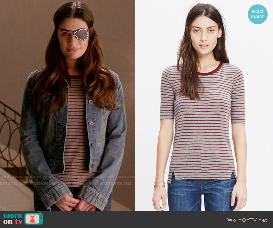 Madewell Soundcheck Ringer Tee in Stripe worn by Lea Michele on Scream Queens