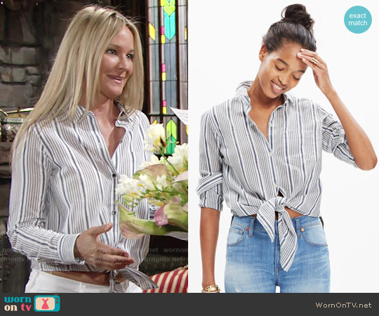 Madewell Striped Tie Front Shirt worn by Sharon Case on The Young & the Restless