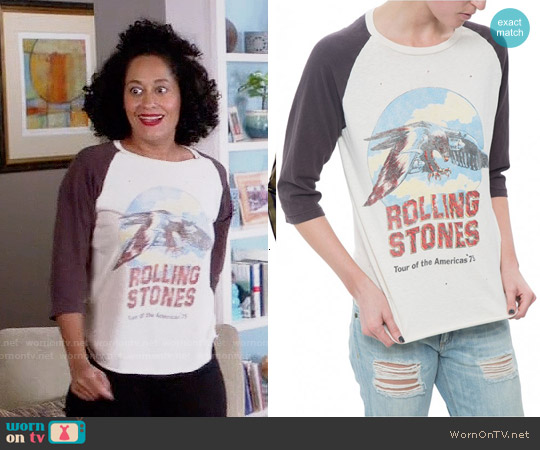 Madeworn Rolling Stones Raglan Tee worn by Tracee Ellis Ross on Blackish
