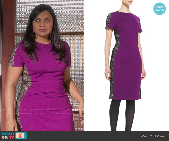 Magaschoni Lace-Panel Ponte Sheath Dress worn by Mindy Kaling on The Mindy Project