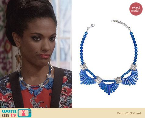 Magdalena Stokalksa Howlite Fan Necklace worn by Freema Agyeman on The Carrie Diaries