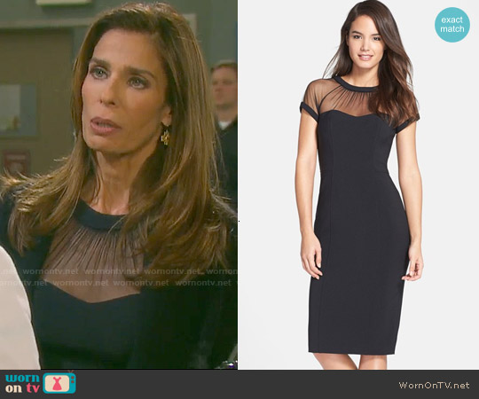 Maggy London Illusion Yoke Crepe Sheath Dress worn by Kristian Alfonso on Days of our Lives