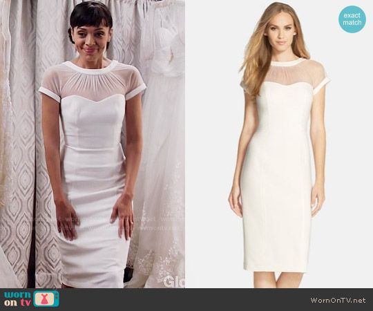 Maggy London Illusion Yoke Crepe Sheath Dress worn by Tamara Taylor on Bones