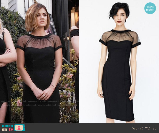 Maggy London Illusion Yoke Crepe Sheath Dress worn by Lucy Hale on PLL