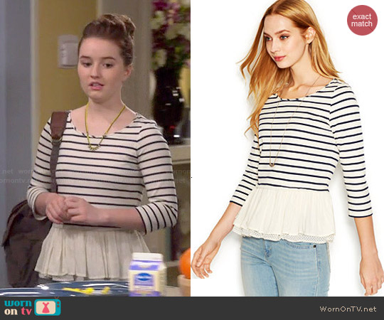 Maison Jules Three-Quarter-Sleeve Striped Ruffled Top worn by Kaitlyn Dever on Last Man Standing