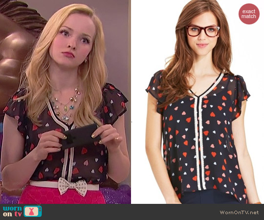 Maison Jules Heart Print Top worn by Dove Cameron on Liv & Maddie